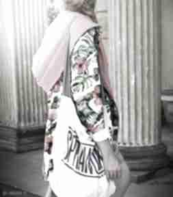 Agagu! Długa bluza oversize z motywem tropikalnym, ogromny