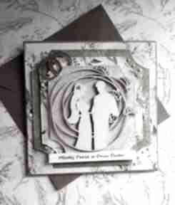Kartka ślubna w zieleniach scrapbooking kartki maly koziolek