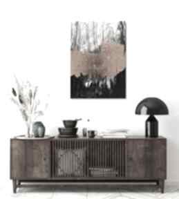 Ręcznie wykonany obraz abstrakcja - biało czarny z elementami