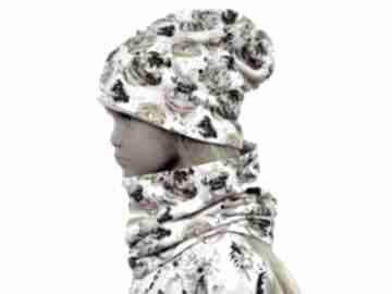 Psy kremowa czapka z kominem dla dziewczynki, rozmiary 0 -8 lat