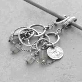 Labradoryt i srebrne koła kolczyki wiszące 050 grey line project