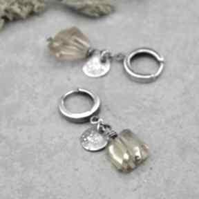 Kolczyki z bryłką cytrynu 155 grey line project srebro, cytryn