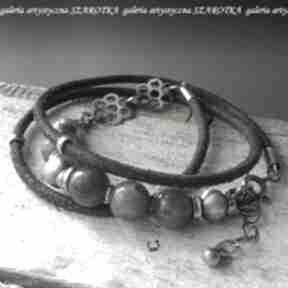 Mglista bransoletka z labradorytu, rzemienia i srebra szarotka
