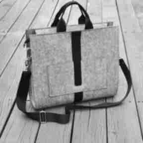 Designerska duża torba z filcu - szara czarnym paskiem