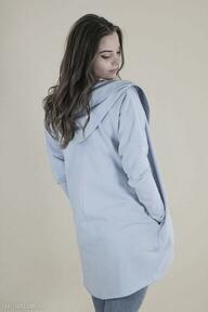 Kardigan damski, peleryna z bawełny, niebieska poncho lona