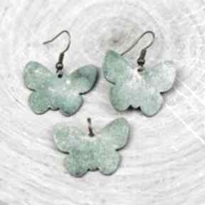 Zielone motyle komplet biżuterii everyday women biżuria, komplet
