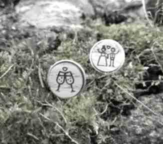 Drewniane spinki do mankietów para młoda ślubne ekocraft ślub