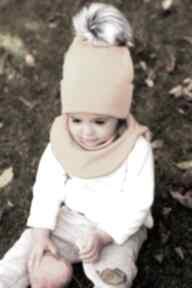 Komplet jesień czapka golf kolor musztardowy zestaw dla dziecka