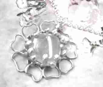 Naszyjnik: kwiat z kwarcem różowym naszyjniki witrazka wisiorek