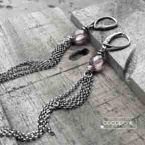 Srebro i kwarc różowy - długie wiszące kolczyki cocopunk