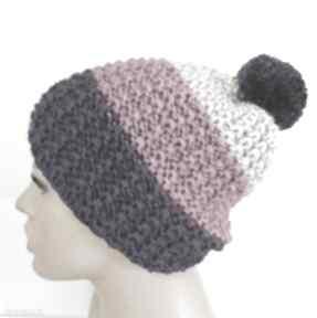 Elma22! czapka na-drutach pompon