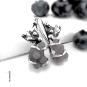 Bilberry srebrne kolczyki z chalcedonem winogronowym miechunka