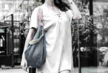 Granatowa torebka na ramię kolorowe paski torebki bags