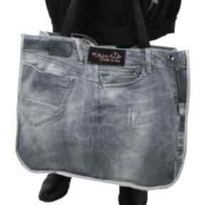 Duża torba upcykling jeans g-star 82 od majunto na ramię