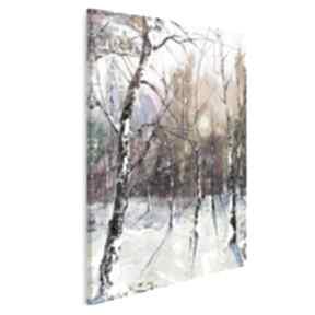 Obraz na płótnie - las zima drzewa w pionie 50x70 cm 62604 vaku