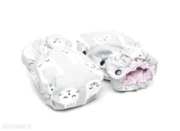 Mufka wÓzka ocieplacz minky szare króliczki róż mufki milutka