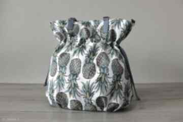Shopper bag sack - tęczowe ananasy na ramię torebki niezwykle