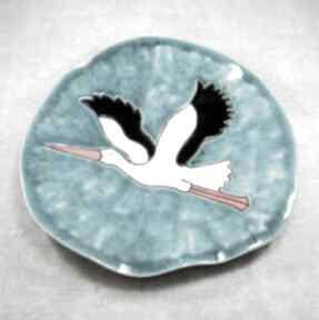 Patera z bocianem ceramika pracownia ako bocian, ptaki, talerz