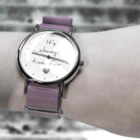 Zegarek - time for love amarant, nylonowy zegarki yenoo zegarek