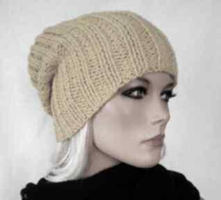 Czapka hand made żółta czapki hermina ręcznie robiona czapka