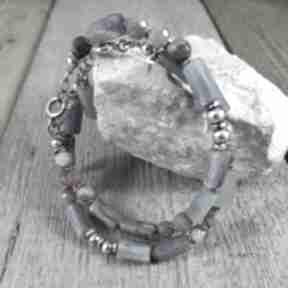 Kyanit z turmalinem - bransoletka 437 irart srebro oksydowane