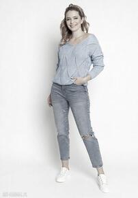 Ażurowy sweterek, swe231 niebieski mkm swetry damski wiosenny