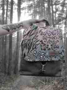 Plecak zielony welur z kolorowa klapką godeco plecak, ściągany