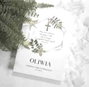 Pamiątka chrztu obraz led złoty krzyż liście paproć styl