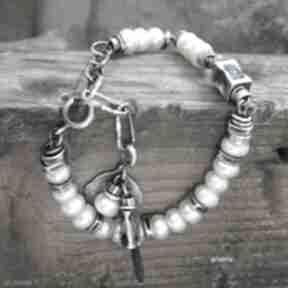 Perły ecru - bransoletka arvena srebro oksydowane, perły
