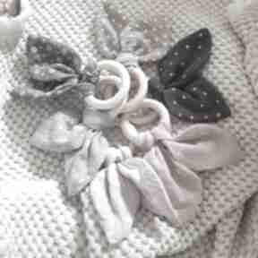 Gyzak drewniany muślinowe uszy dla dziecka maka design gryzak