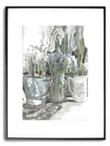 Grafika w ramie białe żonkile 30x40 renata bulkszas kwiaty