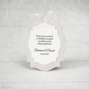 Zawieszki na alkohol - ramki zaproszenia biala konwalia