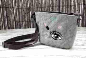 Mini torebeczka happyart mała, torebka, naszywki, haft, prezent,