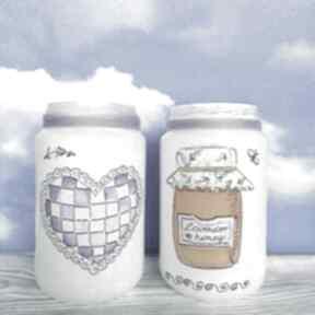 Lawendowe dekoracje komplet dwóch szklanych słoiczków kolekcji