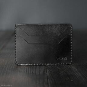 Minimalistyczny portfel skórzany czarny na karty portfele