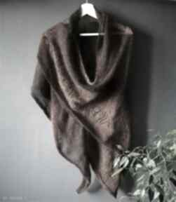 Duża chusta merino&kidmohair szaliki the wool art chusta, szal, naszyję, na drutach,