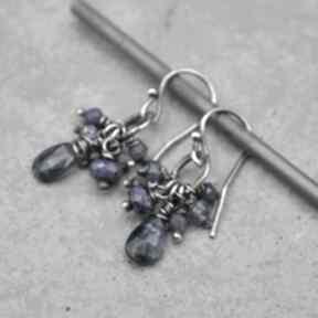Kianit, szafir i lapis lazuli kolczyki 157 grey line project