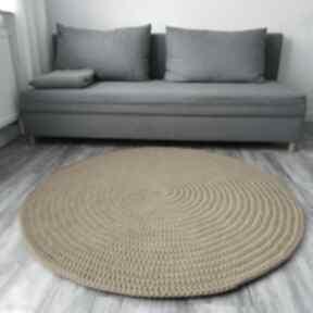 Dywan ze sznurka dziergany 130 cm szydełko my hilo dywan