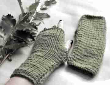 Zielone mitenki rękawiczki the wool art mitenki, rekawiczki