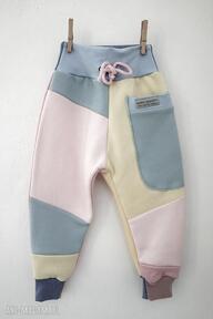 Patch pants spodnie 74 - 104 cm pastele mimi monster dres