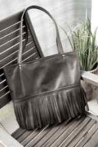 Torba worek na ramię happyart torebka, z frędzlami, modna, eko,