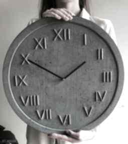 Zegar ścienny betonowy handmade z betonu antracyt miedź