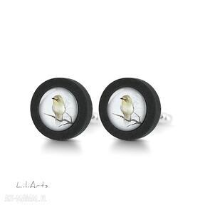 Żółty ptaszek - drewniane spinki do mankietów liliarts spinki