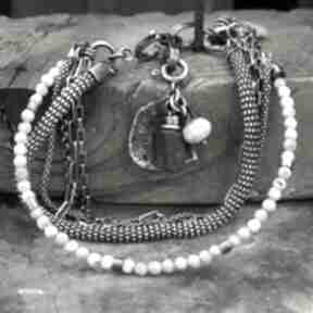 Larimar - bransoletka 01 arvena srebro oksydowane, larimar