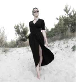 Czarna sukienka maxi - gaja sukienki mimi monster z-dzianiny