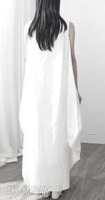 Lniana biała sukienka oversize sukienki ruda klara sukienka
