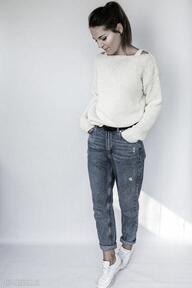 swetry Casualowy wygodny sweter w kolorze kremowym