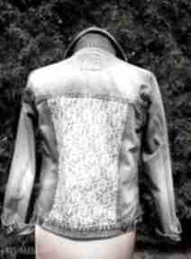 Jeansowa kurtka z białą koronką gabiell kurtka, jeans, dżins