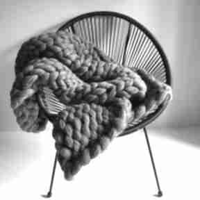 Gruby wełniany pled koc chunky blanket koce i narzuty wool and