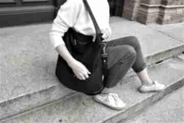 Workówka plecionka czerń na ramię manufakturamms vegan, torebka